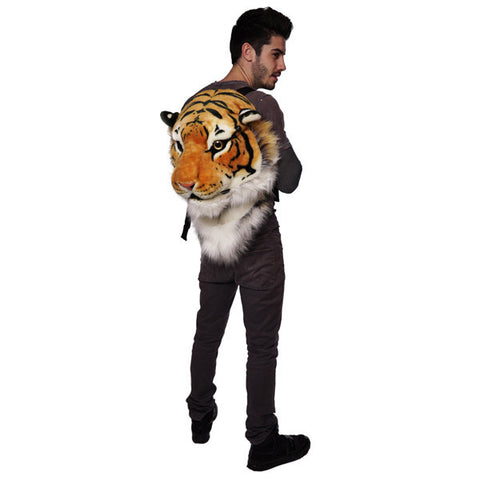 Animal Head Backpack Yellow Tiger Head Backpack