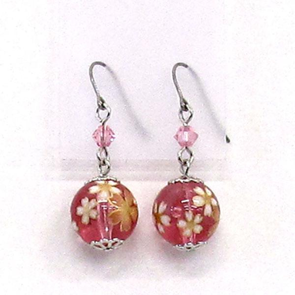 COCOLUCK Motif earrings CO-P7860-PINK