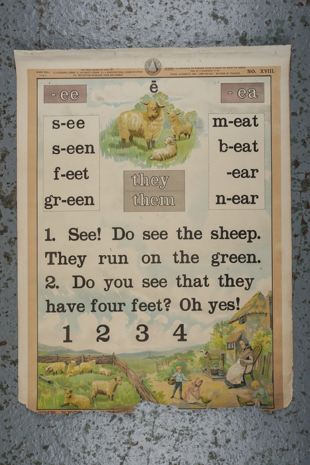 A vintage school reading wall chart available to buy from Industrious Interiors, an online vintage furntiure and homeware store based in Nottingham, England.