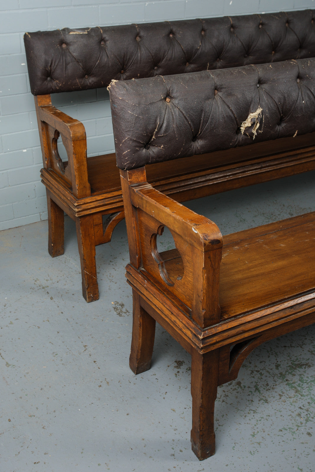 Pair of Large Open-Backed Pews