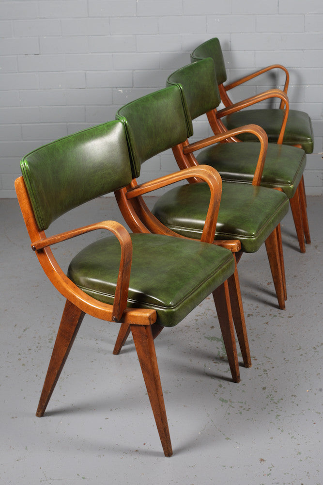 Image of Ben Teak and Vinyl Dining Chairs for sale at Industrious Interiors online vintage store based in Nottingham, England