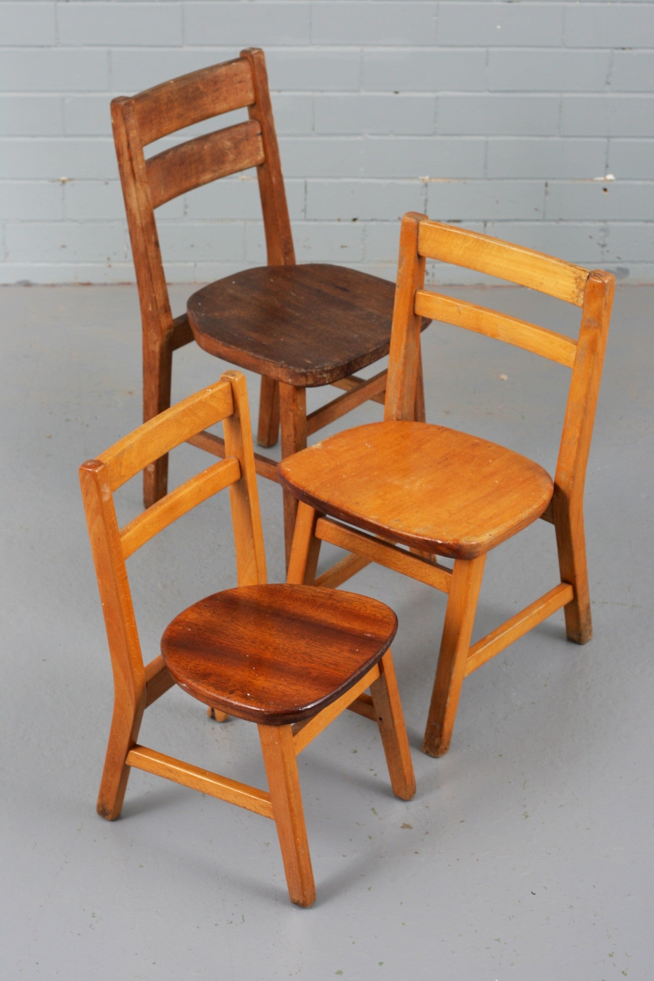 Vintage wooden children's chairs available to buy at Industrious Interiors, an online vintage furniture and homeware store based in Nottingham, England.