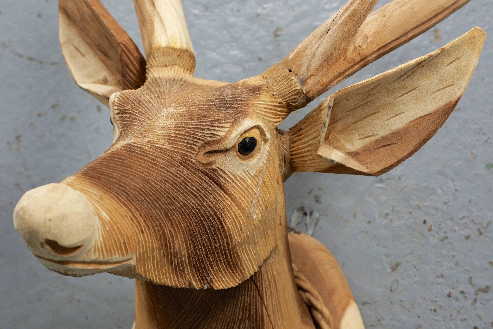 Carved Wooden Stag Head