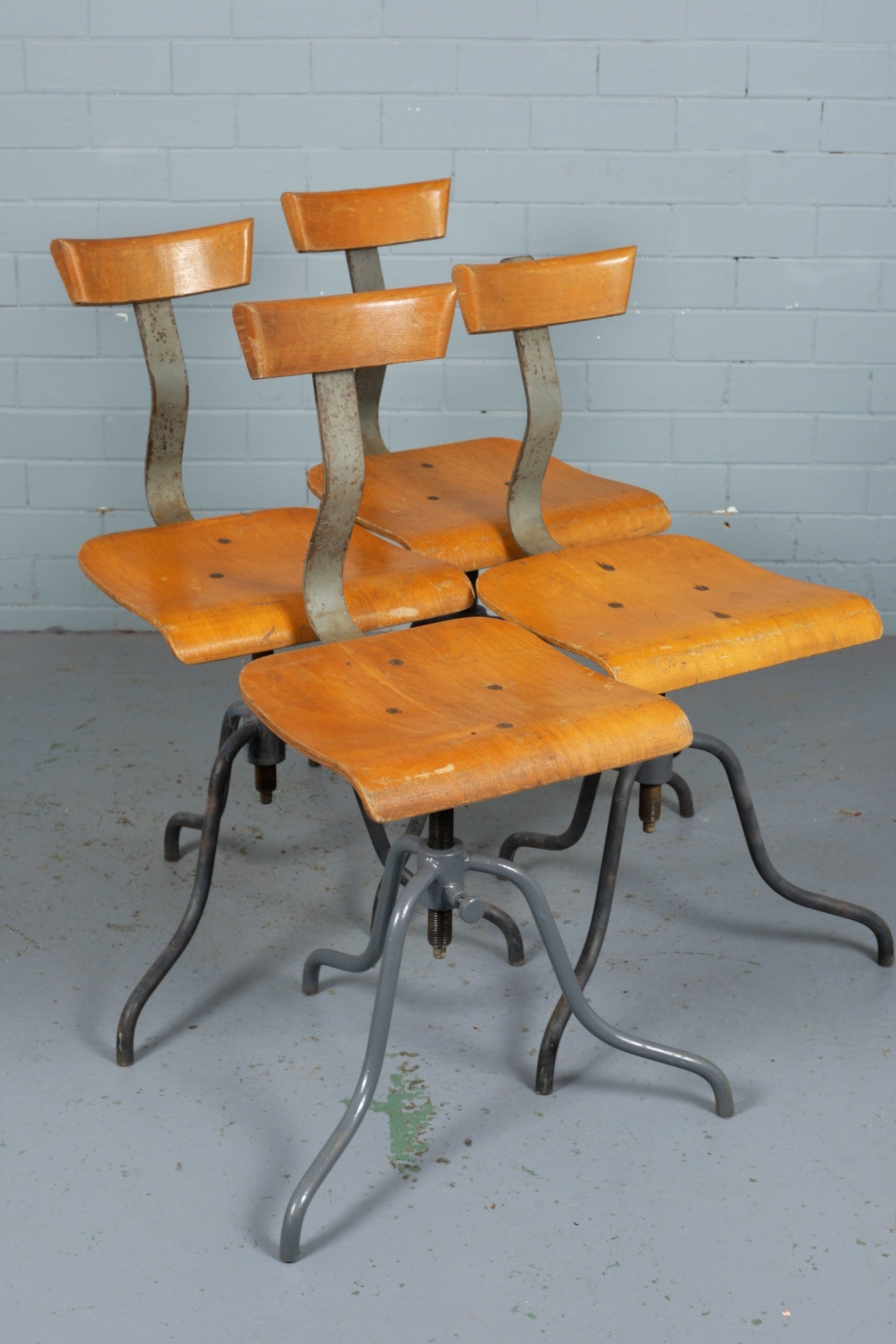 European wooden work chairs available to buy at Industrious Interiors, an online vintage furniture and homeware store based in Nottingham, England.