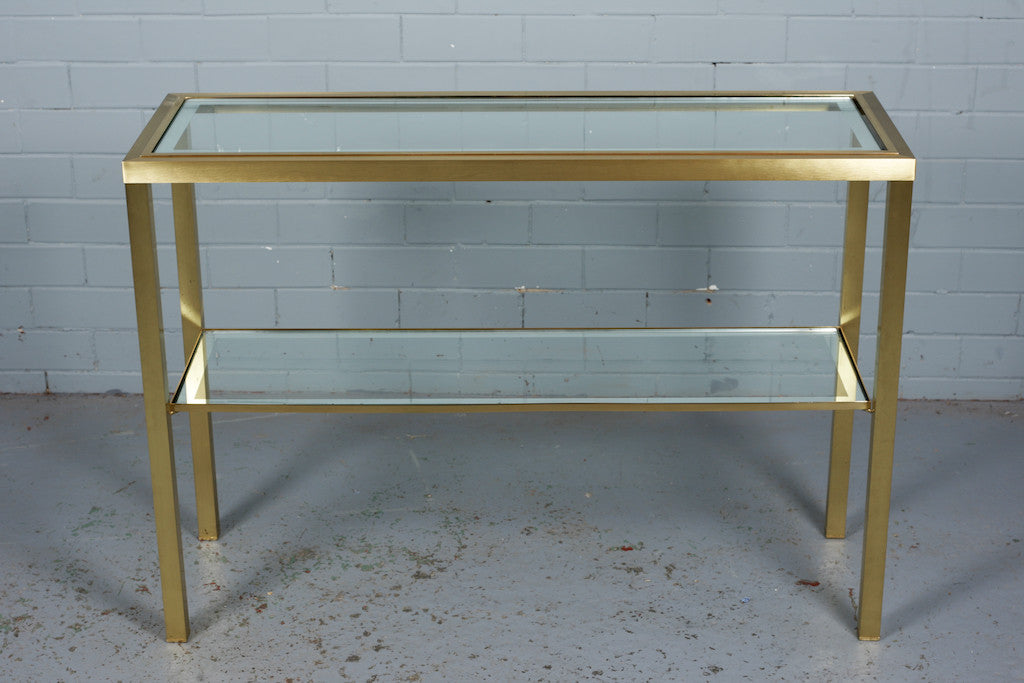 Brushed Brass and Glass Console Table Industrious Interiors