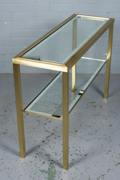 Brushed Brass and Glass Console Table