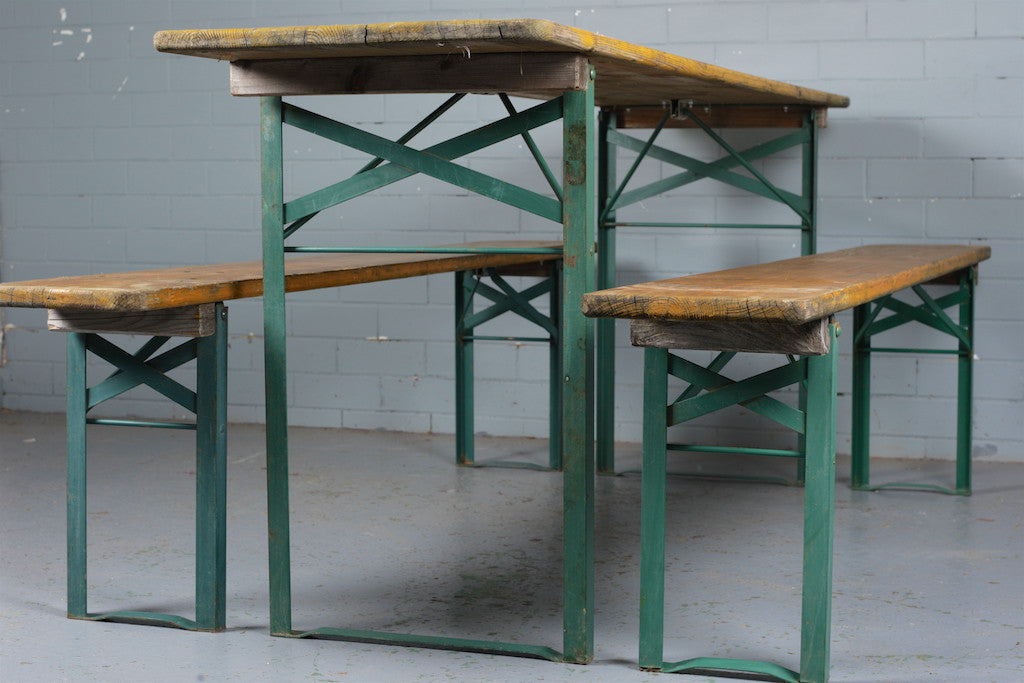 German beer hall table and chairs for sale at Industrious Interiors, an online vintage furniture and homeware store based in Nottingham, England.