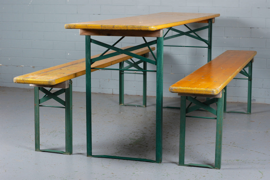 German Beer Hall Folding Table and Benches