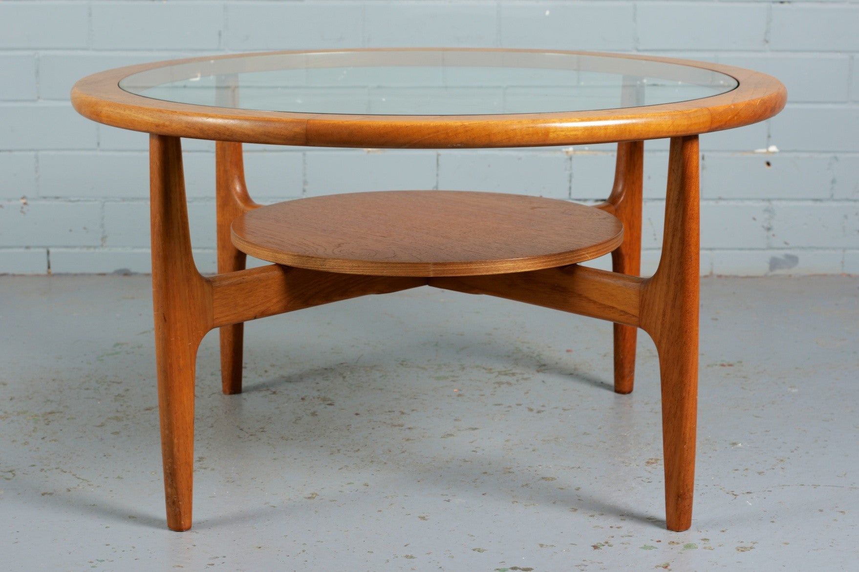 Teak and Glass Circular Coffee Table