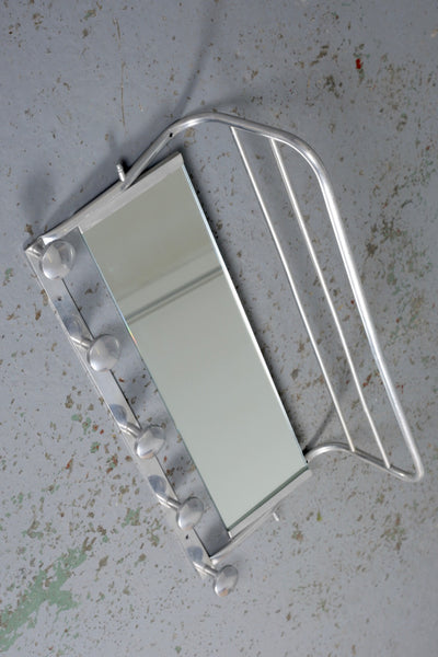 French Art Deco aluminium coat rack with mirror and hat shelf available to buy from Industrious Interiors vintage furniture and homeware online store in Nottingham.