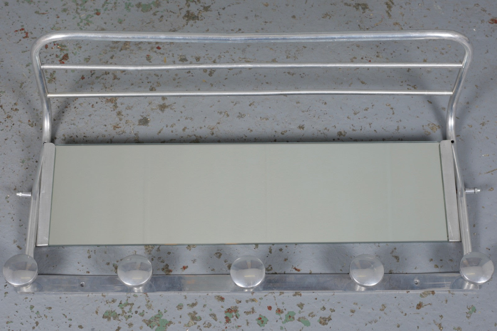 French Art Deco aluminium coat rack with mirror and hat shelf