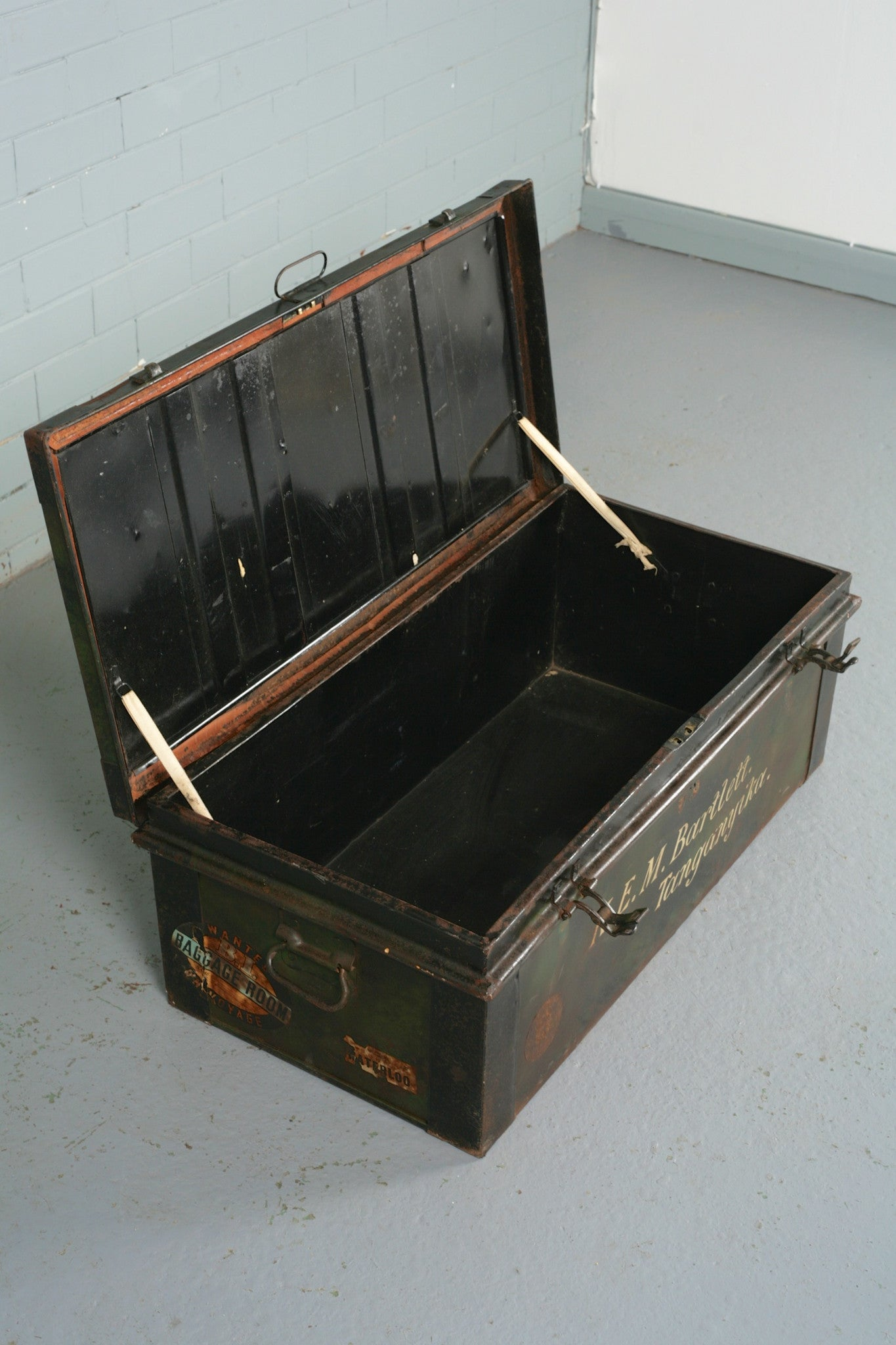 Vintage tin trunk for sale at Industrious Interiors, an online vintage furniture and homeware store based in Nottingham, England.