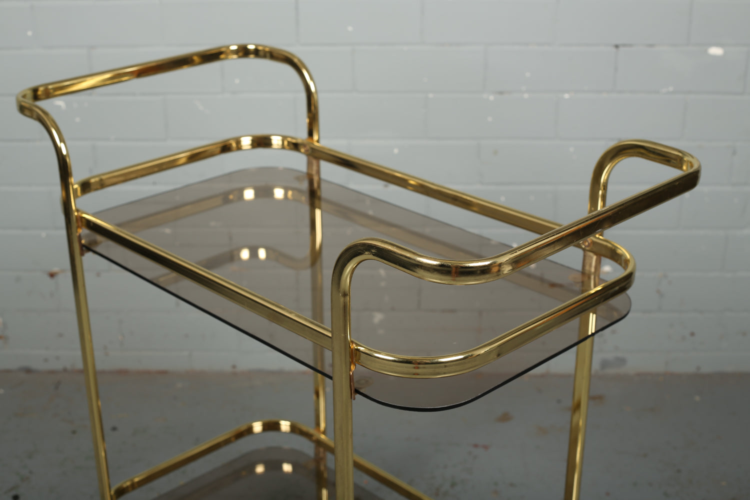 Gold Metal and Glass Hostess Trolley