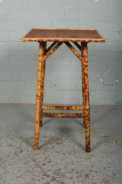 Victorian Tortoiseshell Bamboo and Wicker Side Table.