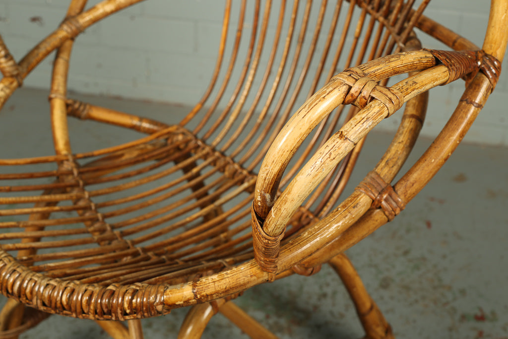 Circular Bamboo Cane Satellite Tub Chair
