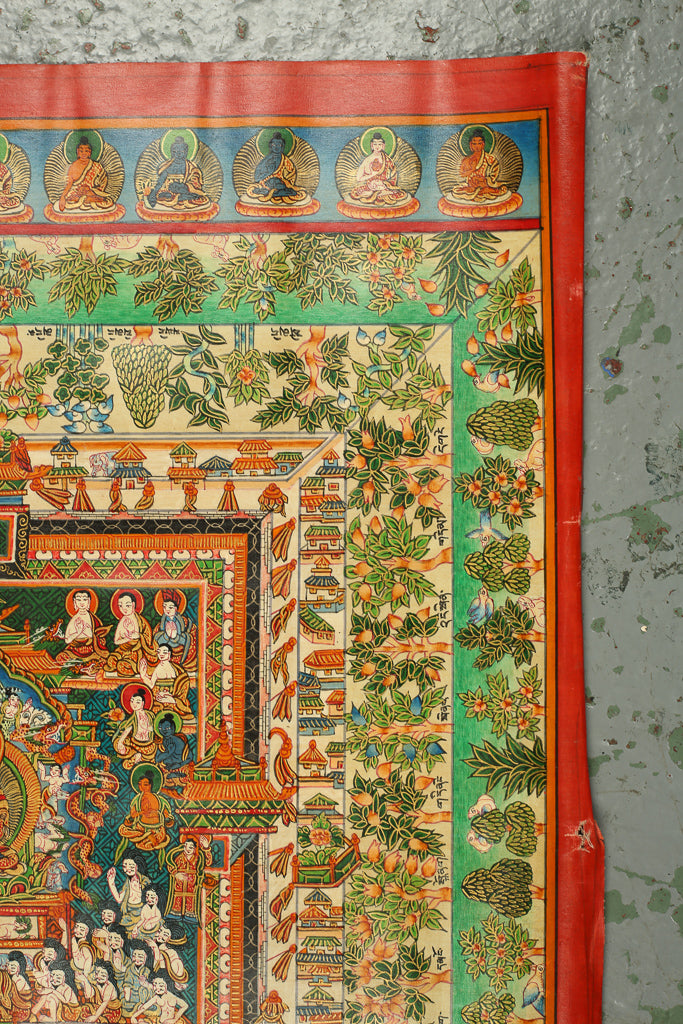 Thangka Depicting Buddha and Medicinal Herbs