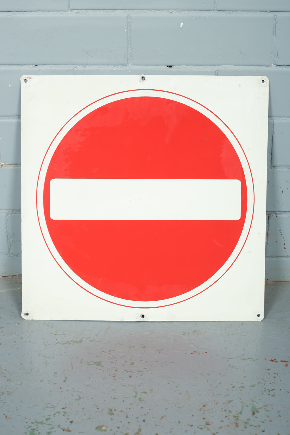 Red and white original enamel stop traffic signs available to buy from Industrious Interiors, an online vintage furniture and homeware store based in Nottingham, England.