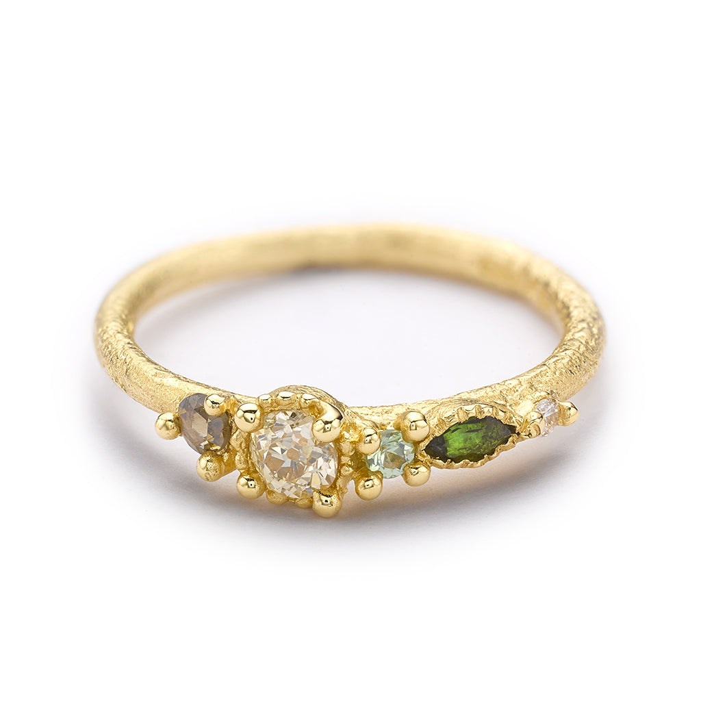 Mixed Stone Ring with Champagne Diamond from Ruth Tomlinson, handmade in London