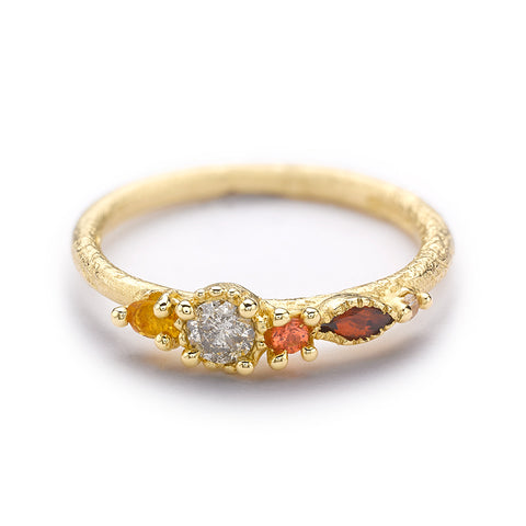 Mixed Stone Ring with Grey Diamond from Ruth Tomlinson, handmade in London