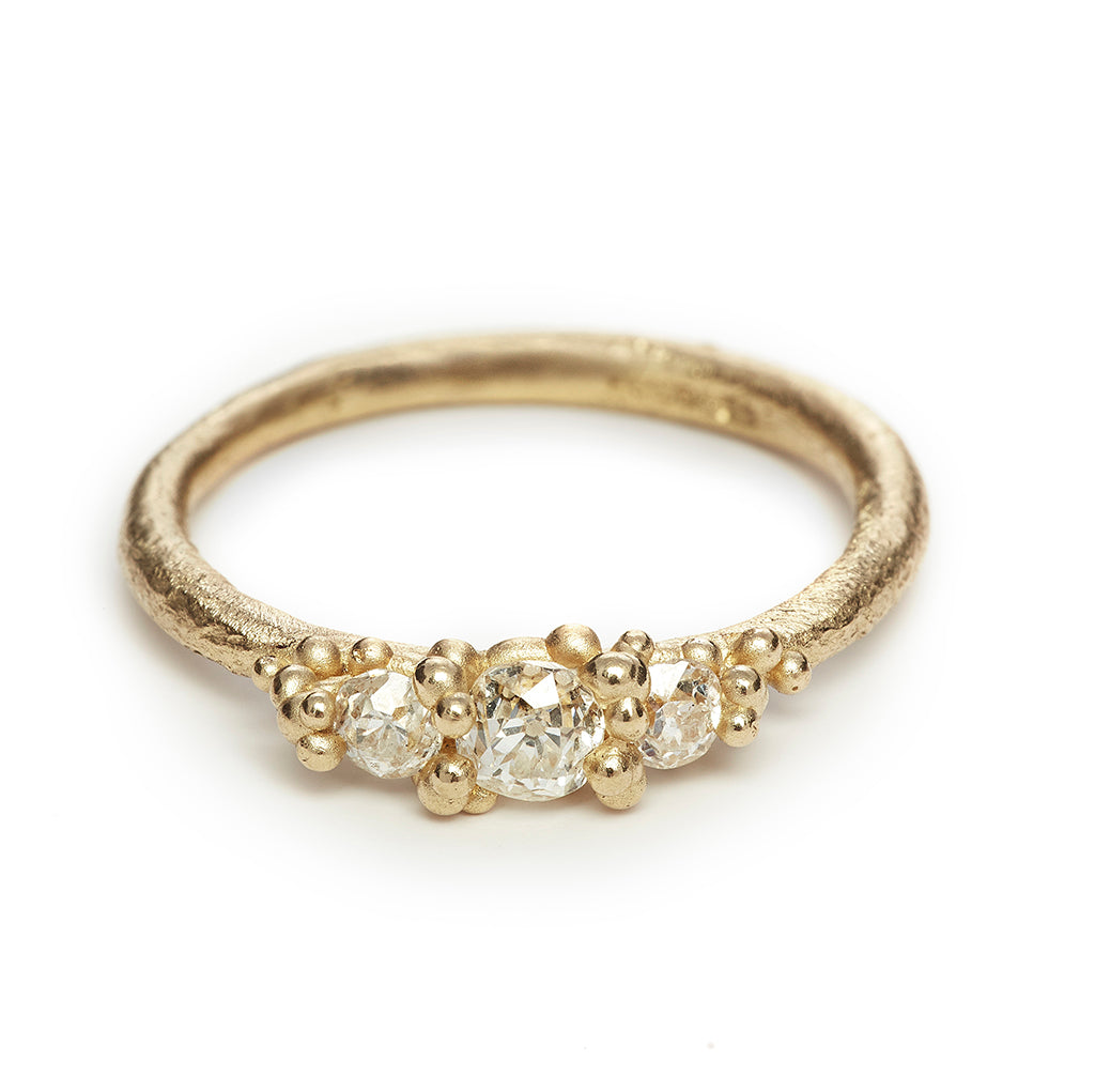 Three stone alternative engagement ring with old cut diamonds from Ruth Tomlinson