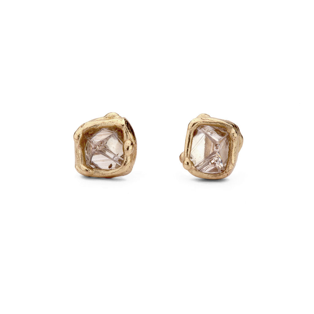 Raw diamond stud earrings from Ruth Tomlinson, handmade in London