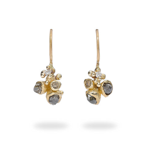 Champagne and grey diamond cluster drop earrings from Ruth Tomlinson