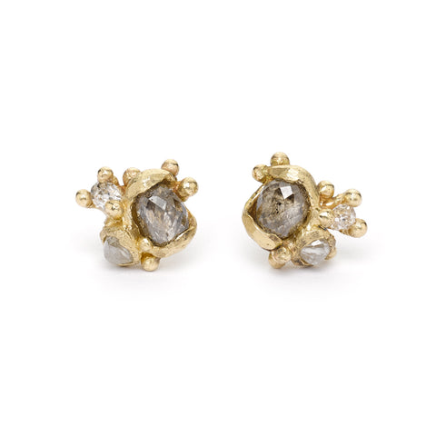 Champagne diamond stud earrings from Ruth Tomlinson, handmade in London