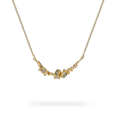 Champagne Diamond Cluster Bar Necklace from Ruth Tomlinson, handmade in London