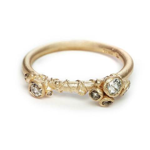 Asymmetric diamond engagement ring from Ruth Tomlinson, handmade in London