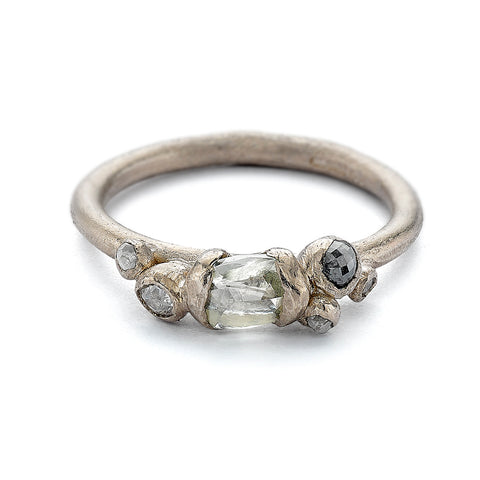 Unique raw white diamond engagement ring from Ruth Tomlinson