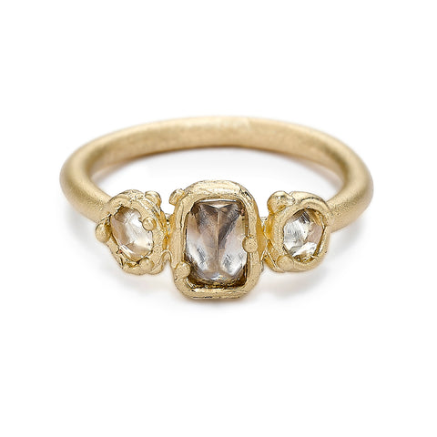 Raw diamond trilogy ring from Ruth Tomlinson, handmade in London