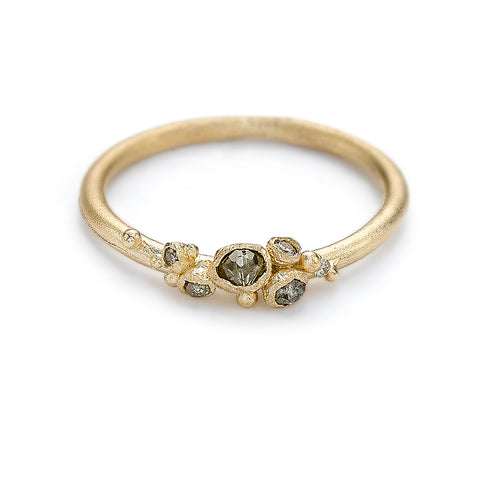 Delicate cluster style wedding band with champagne diamonds from Ruth Tomlinson