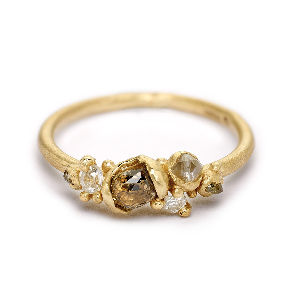 Asymmetric cluster ring of rose cut diamonds, from Ruth Tomlinson, handmade in London