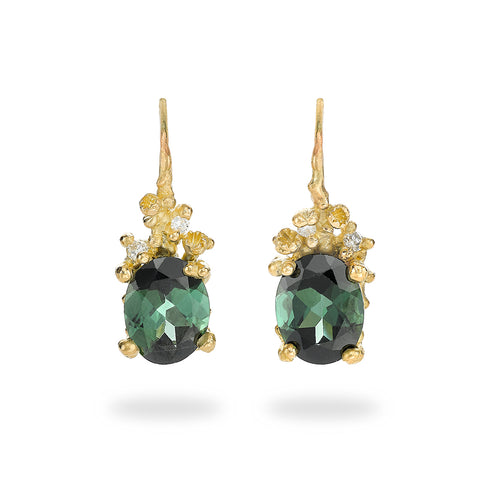 Green tourmaline and diamond drops from Ruth Tomlinson, handmade in London