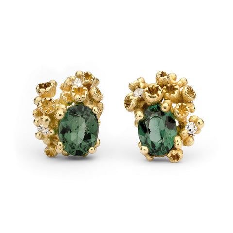 Green tourmaline and diamond stud earrings from Ruth Tomlinson, handmade in London