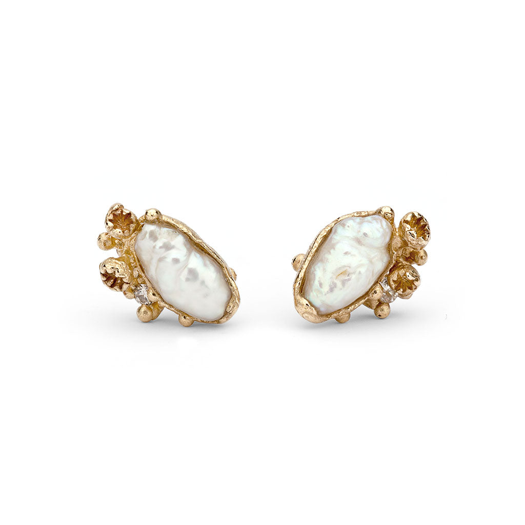 Pearl and diamond stud earrings from Ruth Tomlinson, handmade in London
