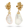 Baroque pearl drop earrings with diamonds, from Ruth Tomlinson