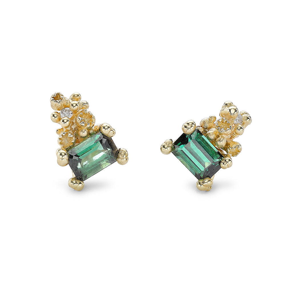 Green tourmaline stud earrings from Ruth Tomlinson, handmade in London