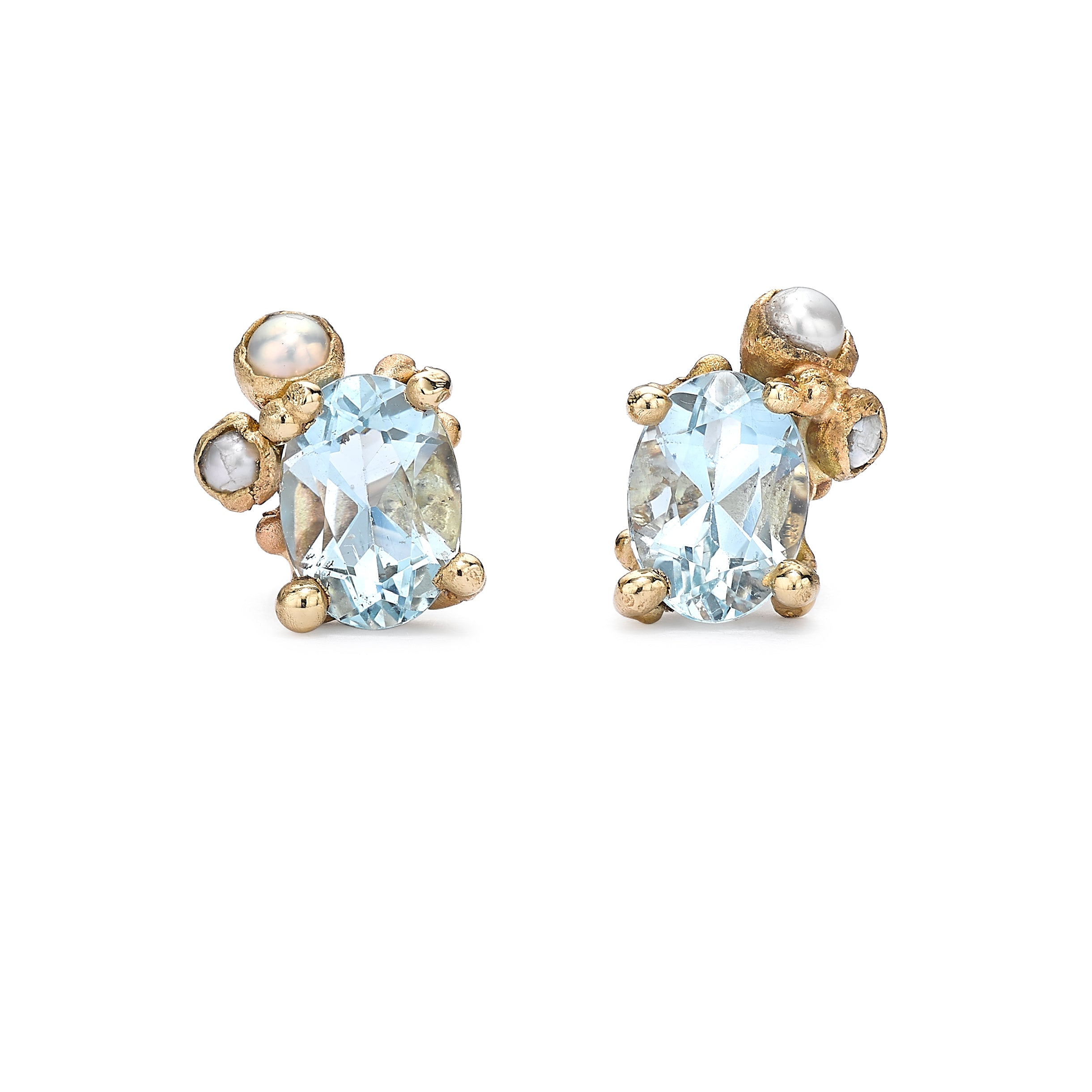 Aquamarine and pearl studs in yellow gold by Ruth Tomlinson, handmade in London