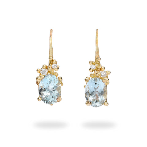 Oval Aquamarine and diamond drop earrings from Ruth Tomlinson, handmade in London