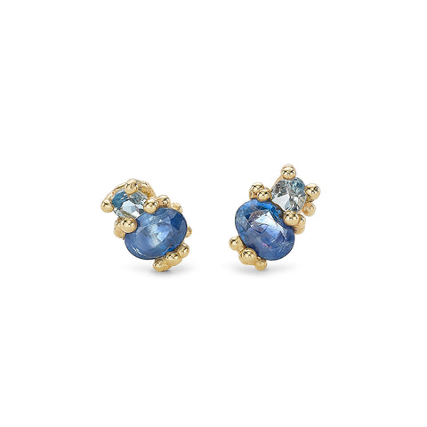 Sapphire and aquamarine stud earrings from Ruth Tomlinson, handmade in London