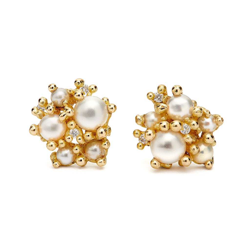 Pearl and Diamond Cluster Studs with Granules by Ruth Tomlinson, Handmade in London
