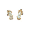 Aquamarine and Grey Diamond Encrusted Studs from Ruth Tomlinson, handmade in London