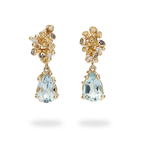 Aquamarine Drops with Grey Diamonds and Barnacles by Ruth Tomlinson, handmade in London