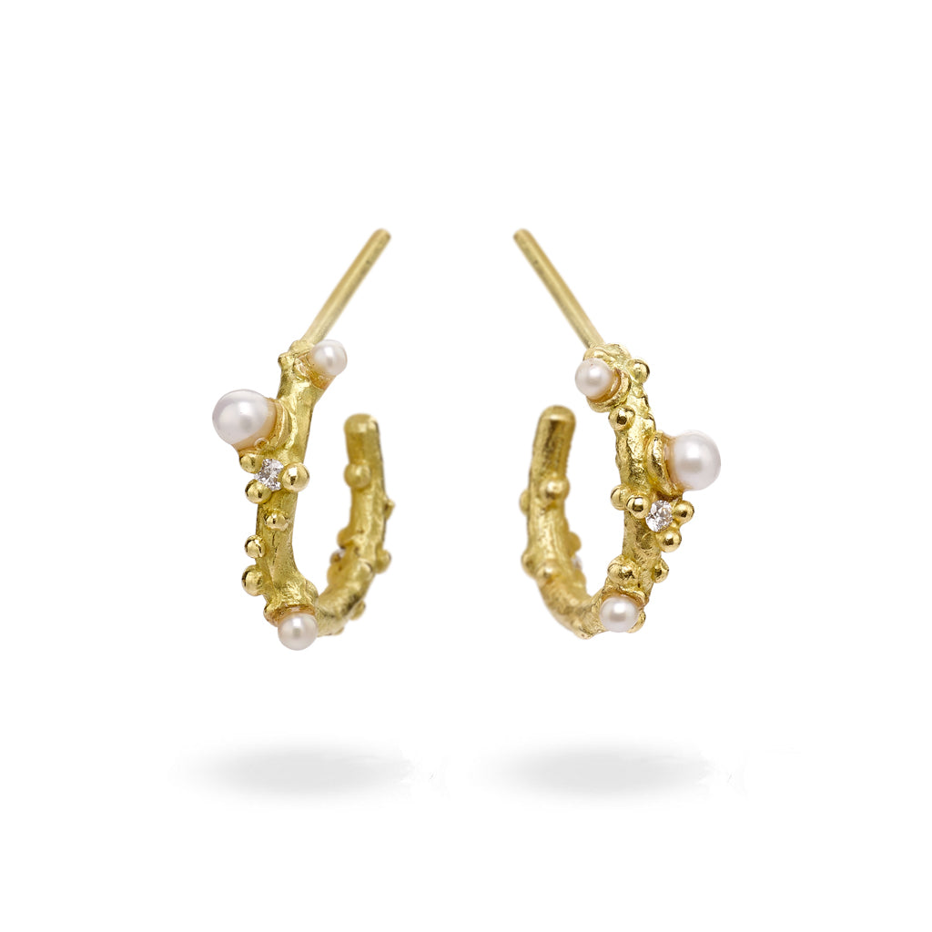 Pearl and diamond hoops in yellow gold from Ruth Tomlinson, handmade in London