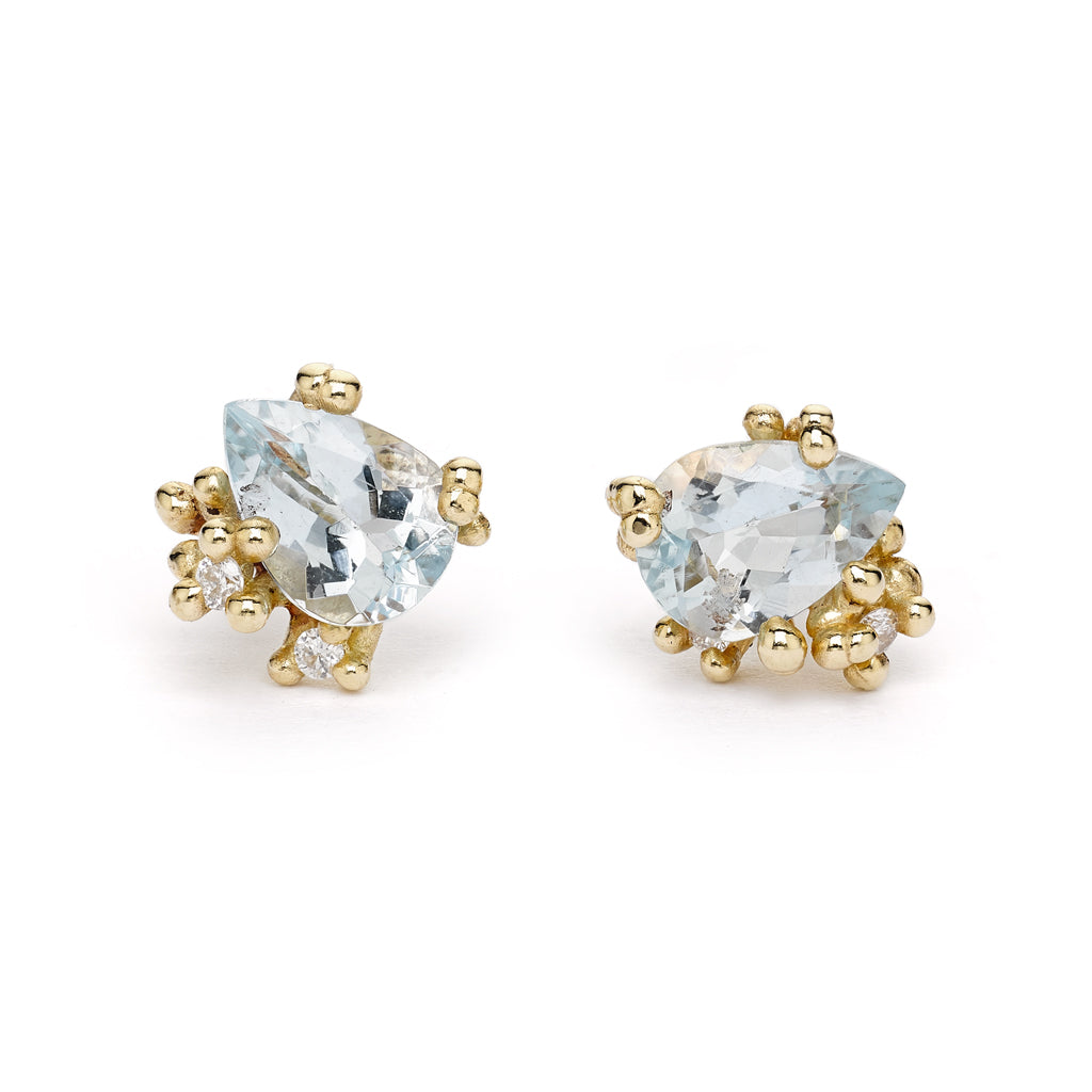 Aquamarine and diamond stud earrings from Ruth Tomlinson, handmade in London