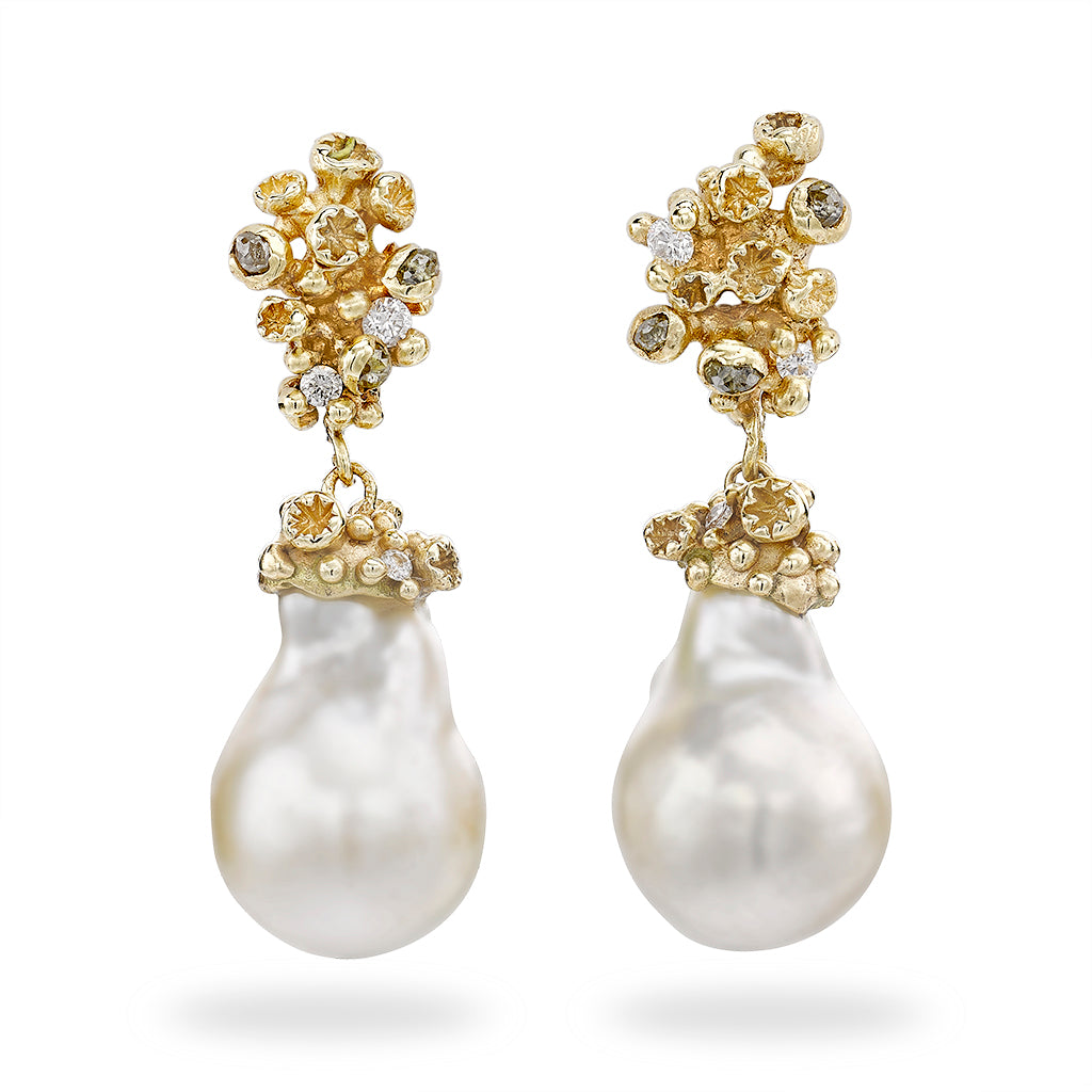 Pearl Drops with Grey Diamonds and Barnacles by Ruth Tomlinson, handmade in London