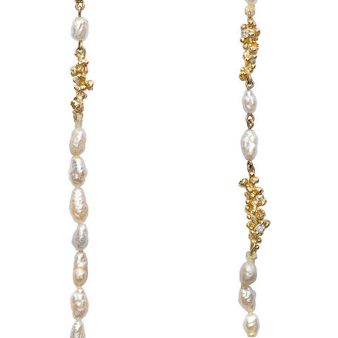 Pearl Necklace with Diamonds and Barnacles by Ruth Tomlinson, Handmade in London