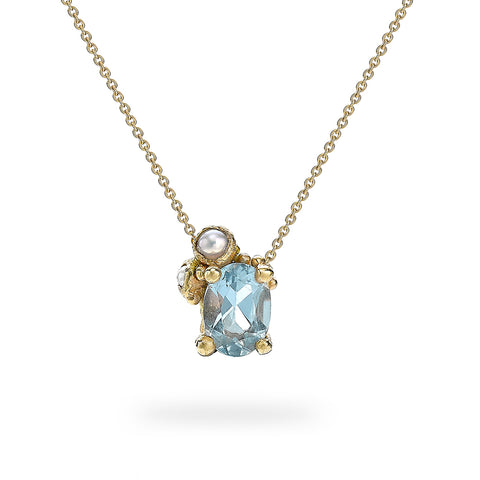 Aquamarine and pearl pendant from Ruth Tomlinson, handmade in London