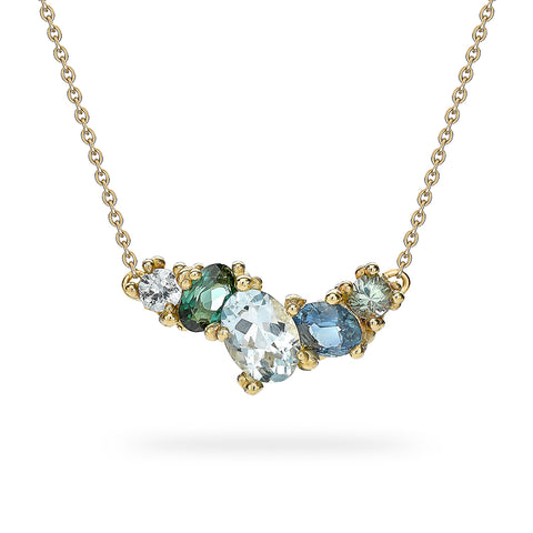 Mixed gemstone cluster bar necklace from Ruth Tomlinson, handmade in London